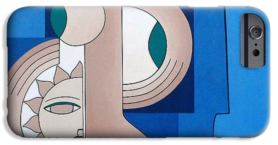 Women Bips Bleu Modern IPhone 6 Case featuring the painting Women And Questions by Hildegarde Handsaeme