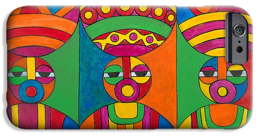 Abstract IPhone 6 Case featuring the painting Women With Calabashes by Emeka Okoro