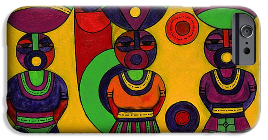 Women IPhone 6 Case featuring the painting Women With Calabashes II by Emeka Okoro
