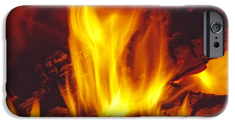 Fire IPhone 6 Case featuring the photograph Wood Stove - Blazing Log Fire by Steve Ohlsen