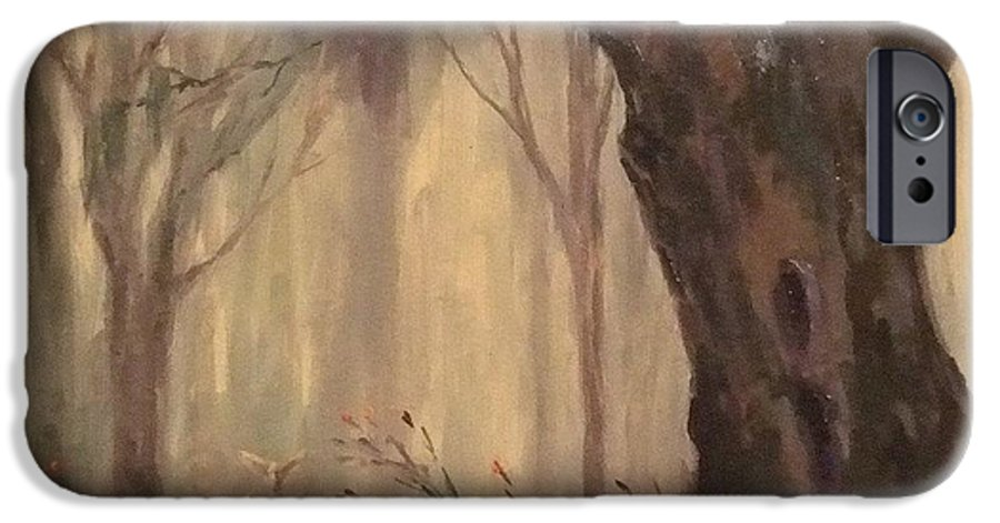 Landscape IPhone 6 Case featuring the painting Woodland Fawn by Ruth Stromswold