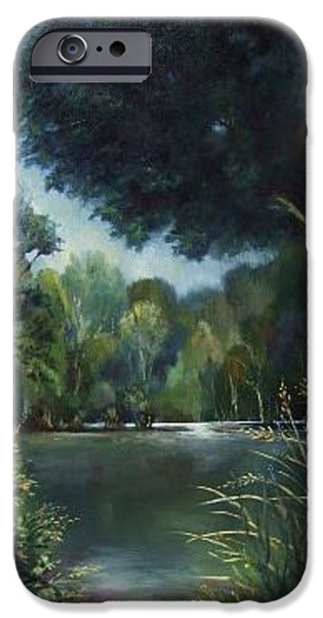 Landscape Woodland IPhone 6 Case featuring the painting Woodland Pond by Ruth Stromswold
