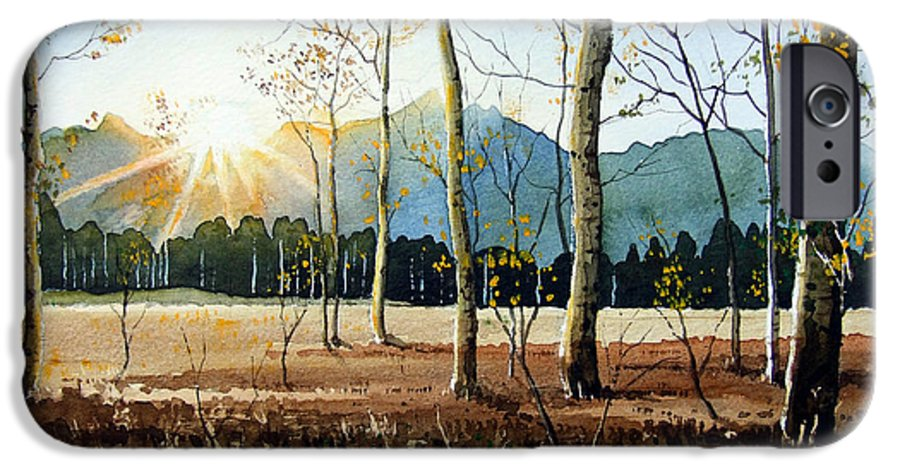 Landscape IPhone 6 Case featuring the painting Woodland Sunset by Paul Dene Marlor