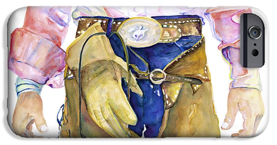 Cowboy Painting IPhone 6 Case featuring the painting Wrangler by Pat Saunders-White