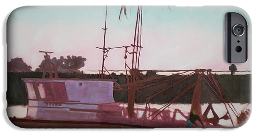 Seascape IPhone 6 Case featuring the digital art Yankee Town Fishing Boat by Hal Newhouser