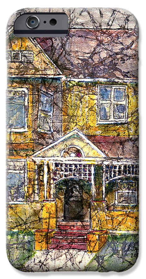 House IPhone 6 Case featuring the mixed media Yellow Batik House by Arline Wagner