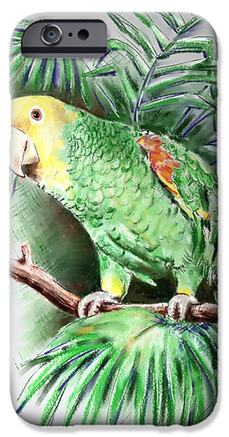 Bird IPhone 6 Case featuring the digital art Yellow-headed Amazon Parrot by Arline Wagner