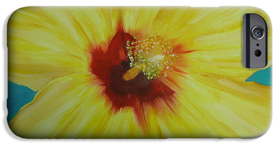 Flower IPhone 6 Case featuring the print Yellow Hibiscus by Melinda Etzold