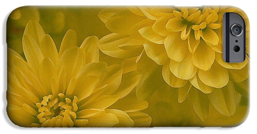 Yellow Mum Art IPhone 6 Case featuring the photograph Yellow Mums by Linda Sannuti