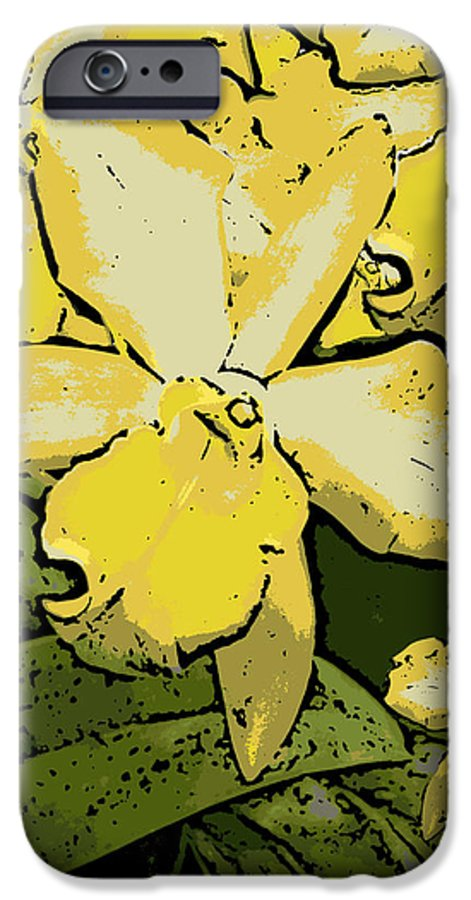 Orchid IPhone 6 Case featuring the photograph Yellow Orchids Woodcut by Ann Tracy
