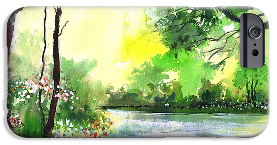 Sky IPhone 6 Case featuring the painting Yellow Sky by Anil Nene