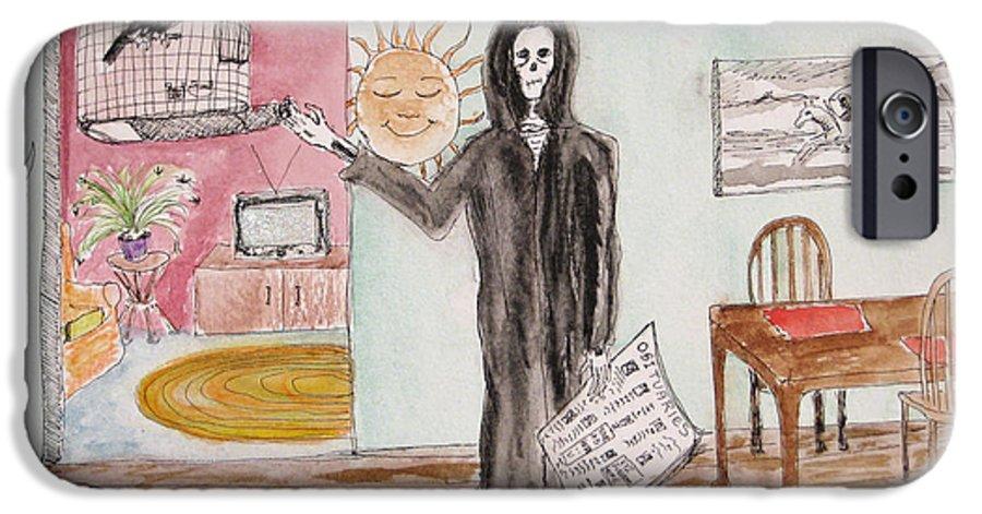 Bird Birdcage Darkestartist Death Home Humor Ink Watercolor Watercolour Darkest Artist IPhone 6 Case featuring the painting Yesterdays News by Darkest Artist