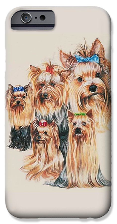 Dog IPhone 6 Case featuring the drawing Yorkshire Terrier by Barbara Keith