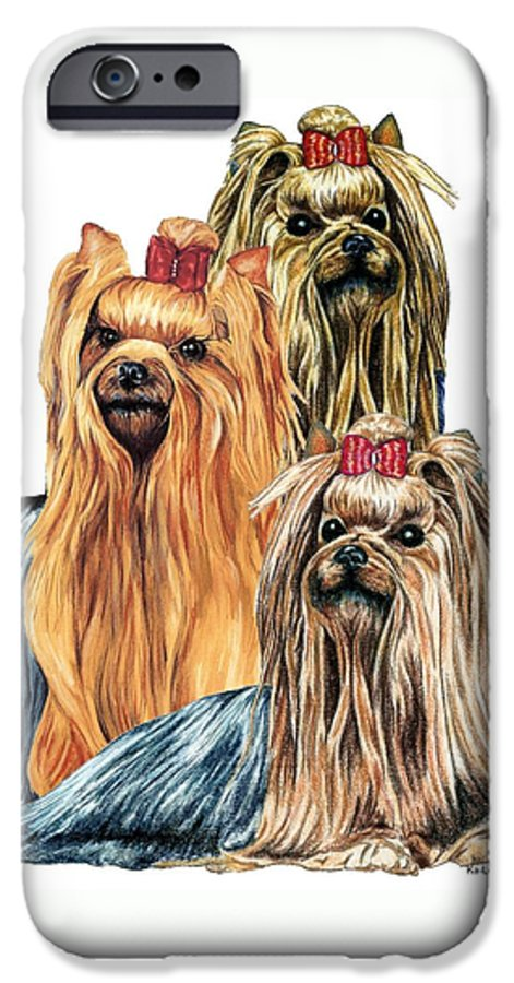 Yorkshire Terrier IPhone 6 Case featuring the drawing Yorkshire Terriers by Kathleen Sepulveda