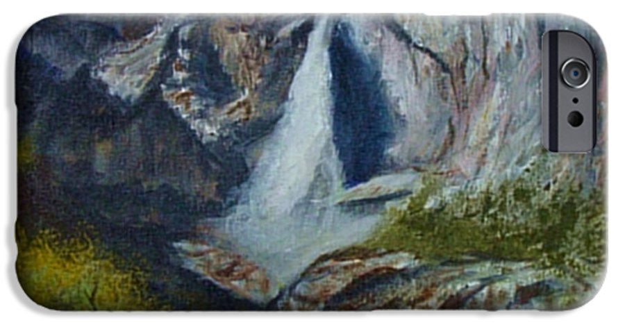 Waterfall IPhone 6 Case featuring the painting Yosemite Waterfall by Quwatha Valentine
