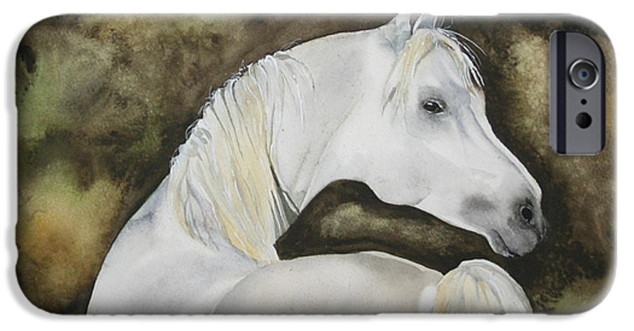 Horse IPhone 6 Case featuring the painting You Talking To Me by Jean Blackmer