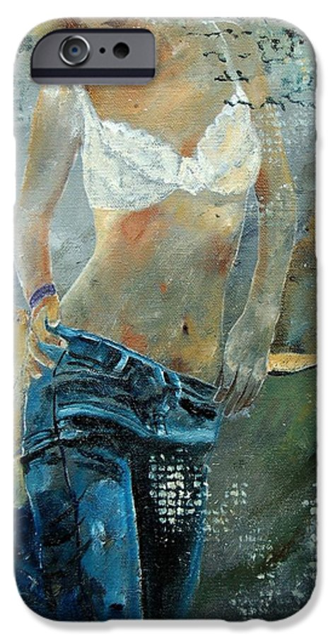 Girl IPhone 6 Case featuring the painting Young Girl In Jeans by Pol Ledent