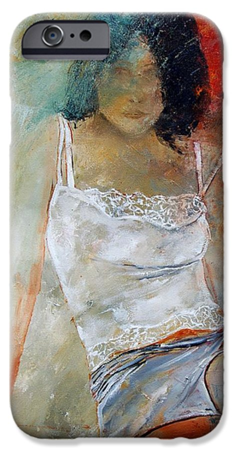 Nude IPhone 6 Case featuring the painting Young Girl Sitting by Pol Ledent