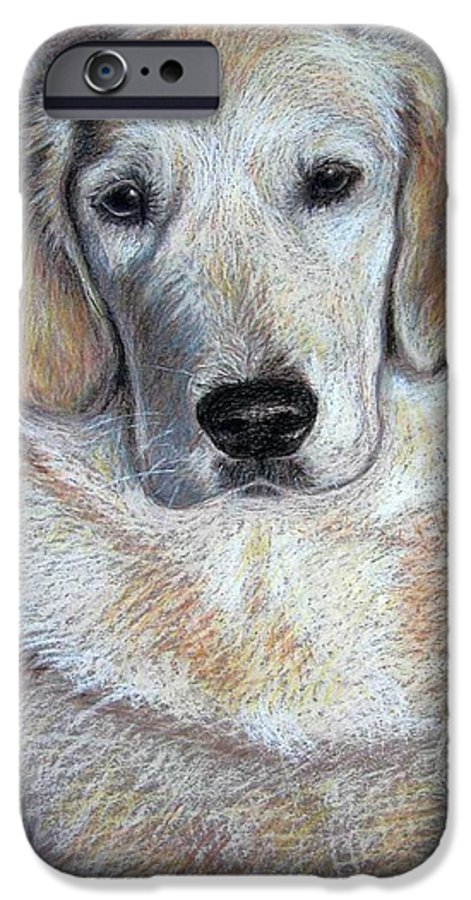 Dog IPhone 6 Case featuring the pastel Young Golden Retriever by Nicole Zeug