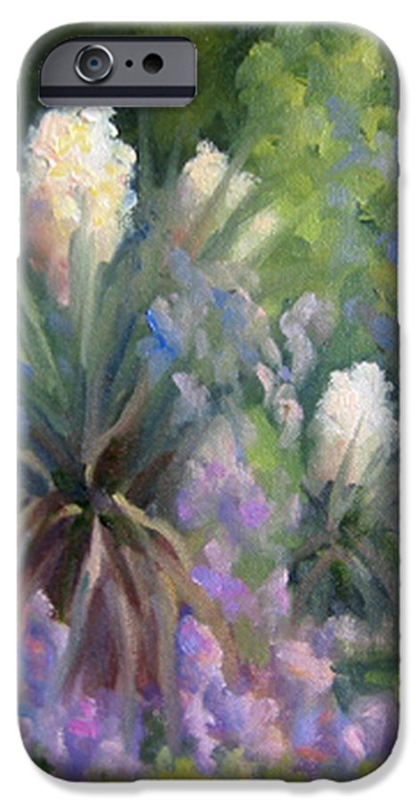 Yucca IPhone 6 Case featuring the painting Yucca And Wisteria by Bunny Oliver