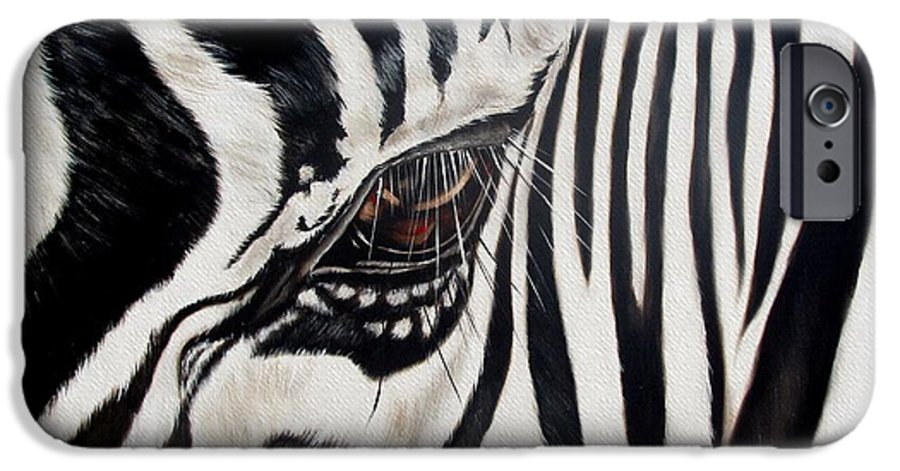 Zebra IPhone 6 Case featuring the painting Zebra Eye by Ilse Kleyn