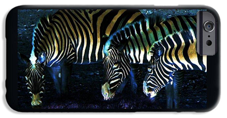 Zebra IPhone 6 Case featuring the digital art Zebras Glow by Kenna Westerman