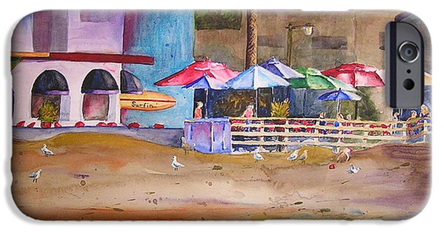 Umbrella IPhone 6 Case featuring the painting Zelda's Umbrellas by Karen Stark