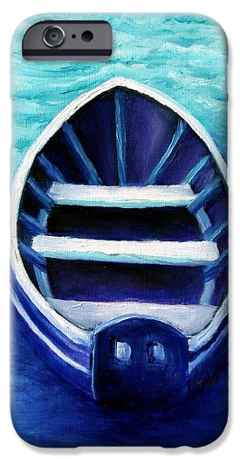 Boat IPhone 6 Case featuring the painting Zen Boat by Minaz Jantz
