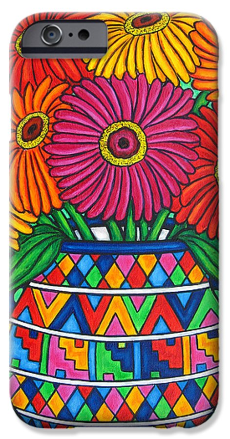 Zinnia IPhone 6 Case featuring the painting Zinnia Fiesta by Lisa Lorenz