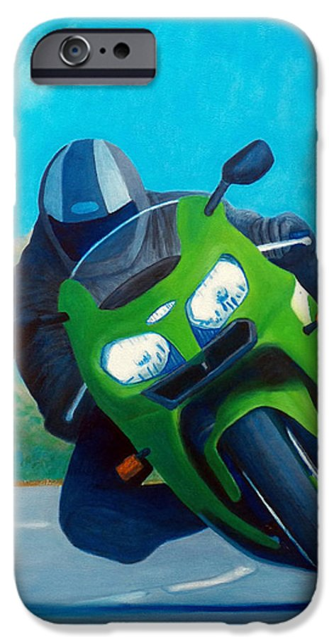 Motorcycle IPhone 6 Case featuring the painting Zx9 - California Dreaming by Brian Commerford