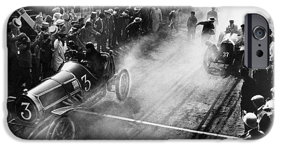 Streets IPhone 6 Case featuring the photograph Finish Line At Auto Race by Everett Collection