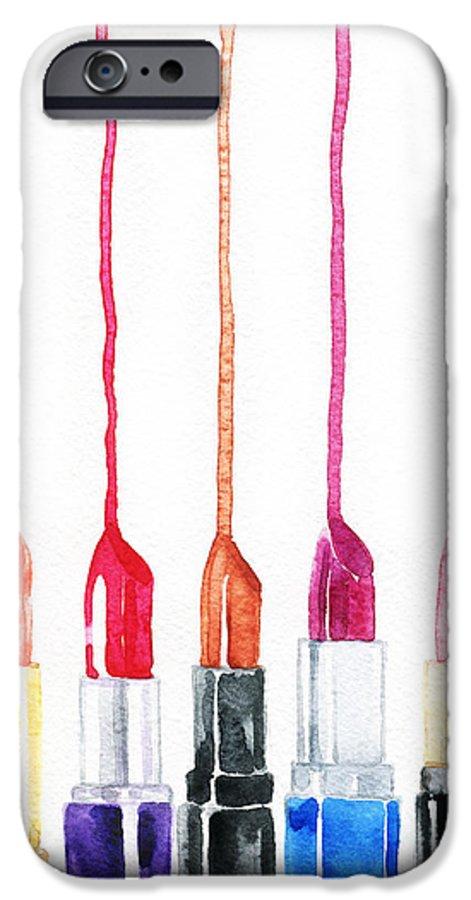 Makeup IPhone 6 Case featuring the digital art Lipsticks. Watercolor Illustration by Anna Ismagilova