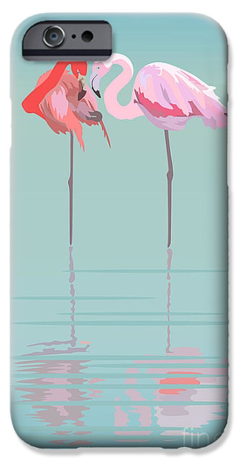 Feather IPhone 6 Case featuring the digital art Pair Of Flamingos In The Pond by Viktoriya Pa