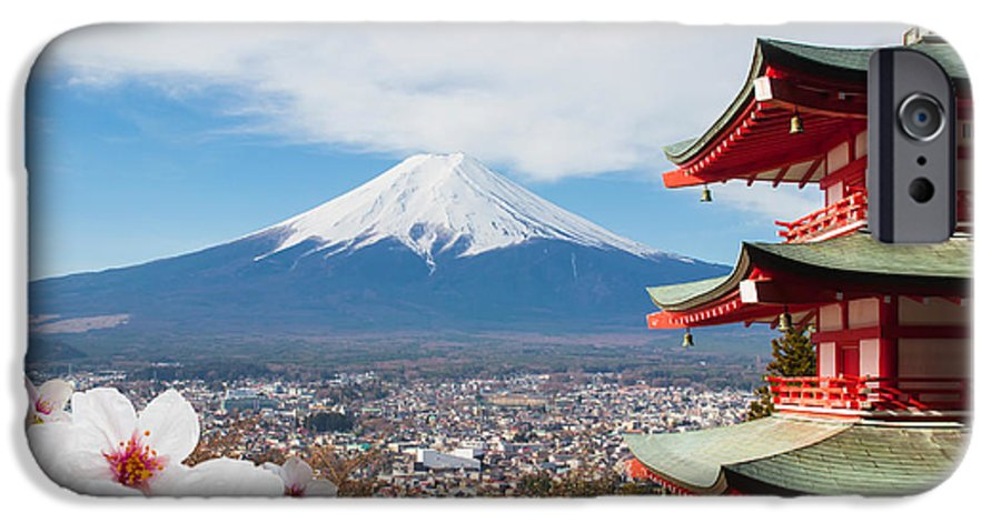 Symbol IPhone 6 Case featuring the photograph Red Pagoda With Mt Fuji Background And by Tnshutter