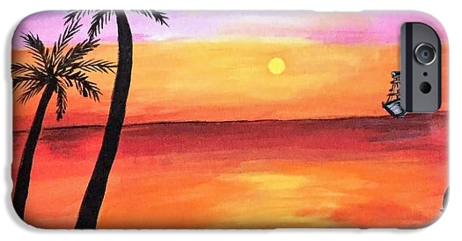 Canvas IPhone 6 Case featuring the painting Scenary by Aswini Moraikat Surendran