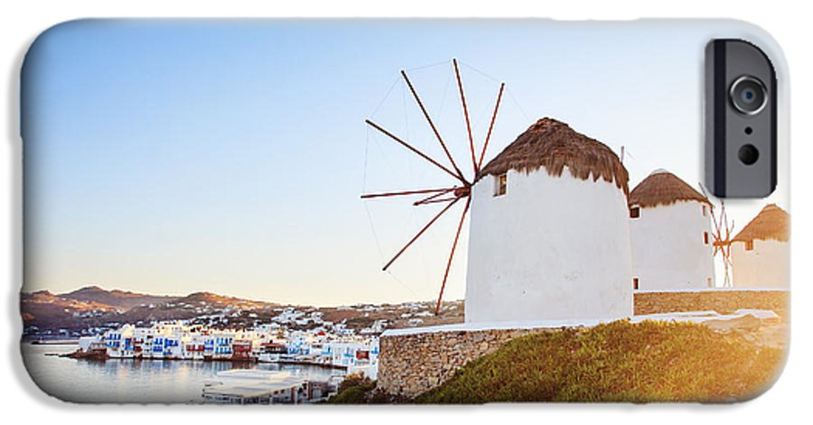 Sunrise IPhone 6 Case featuring the photograph Windmills Of Mykonos, Famous Landmark by Justin Black