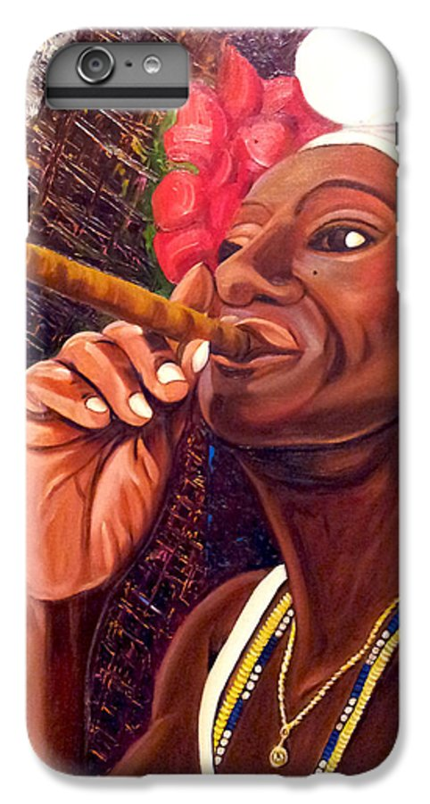 Cuban Art IPhone 6 Plus Case featuring the painting  Cigar Lady by Jose Manuel Abraham