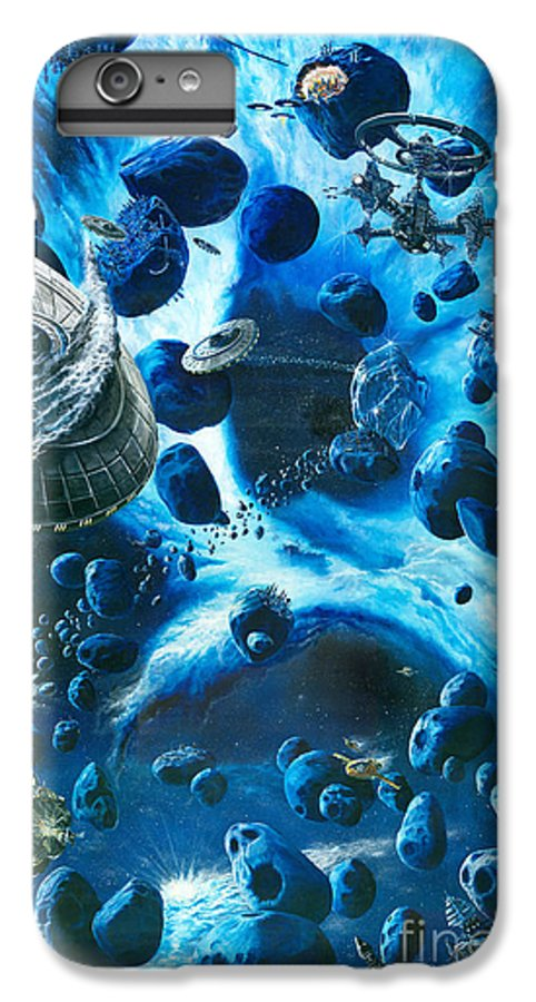Asteroid IPhone 6 Plus Case featuring the painting Alien Pirates by Murphy Elliott