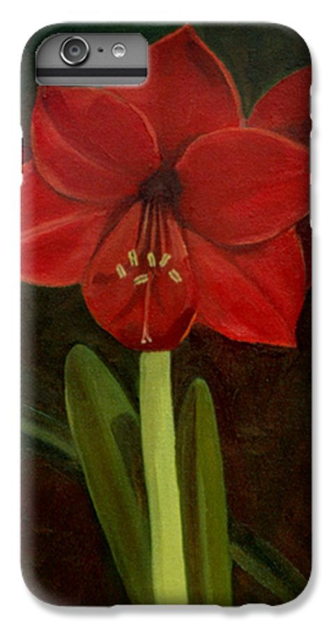 Amaryllis IPhone 6 Plus Case featuring the painting Amaryllis by Nancy Griswold