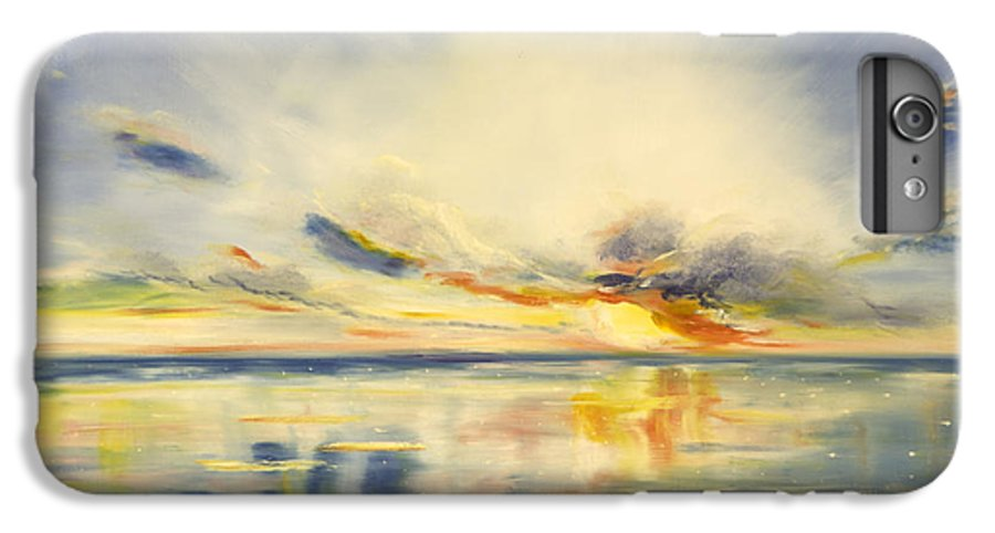 Blue IPhone 6 Plus Case featuring the painting Blue Sunset by Gina De Gorna