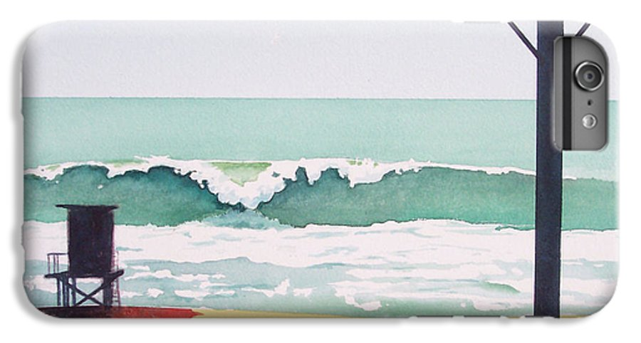 Surf IPhone 6 Plus Case featuring the painting 14th Street Huntington Beach by Philip Fleischer