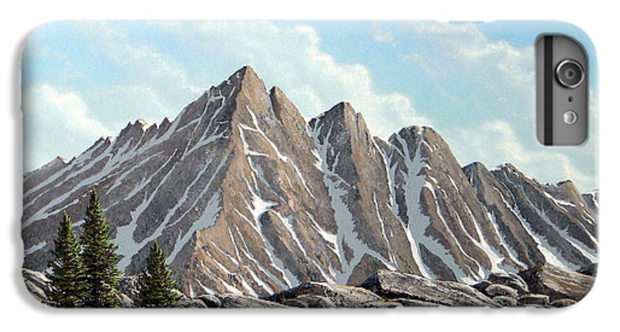 Landscape IPhone 6 Plus Case featuring the painting Lofty Peaks by Frank Wilson