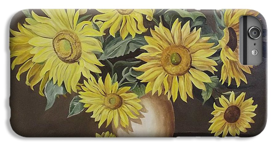 Flowers IPhone 6 Plus Case featuring the painting Sunshine And Sunflowers by Wanda Dansereau