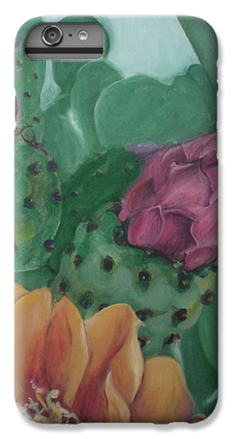 Yellow IPhone 6 Plus Case featuring the painting Yellow Cactus Blossom by Aleksandra Buha