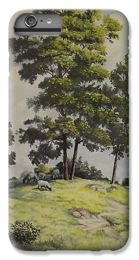 Landscape IPhone 6 Plus Case featuring the painting A Lazy Day For Grazing by Wanda Dansereau