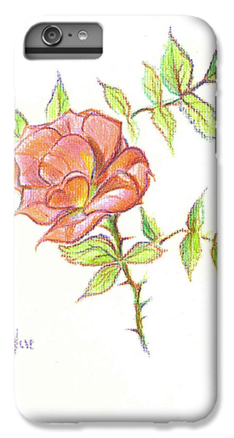 A Rose In Brigadoon IPhone 6 Plus Case featuring the drawing A Rose In Brigadoon by Kip DeVore
