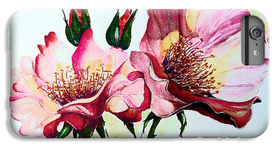 Flower Painting IPhone 6 Plus Case featuring the painting A Rose Is A Rose by Karin Dawn Kelshall- Best