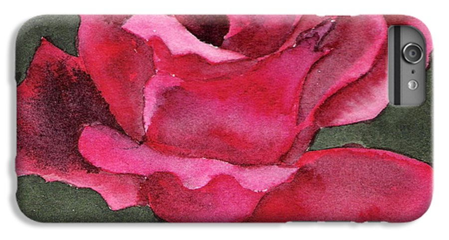 Rose Flower Red Painting Watercolor Still Life IPhone 6 Plus Case featuring the painting A Rose Is A Rose by Marsha Woods