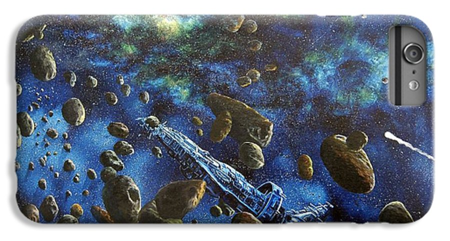 Canvas IPhone 6 Plus Case featuring the painting Accidental Asteroid by Murphy Elliott