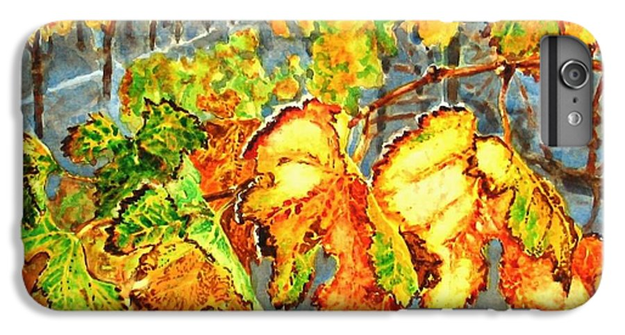 Vineyard IPhone 6 Plus Case featuring the painting After The Harvest by Karen Ilari